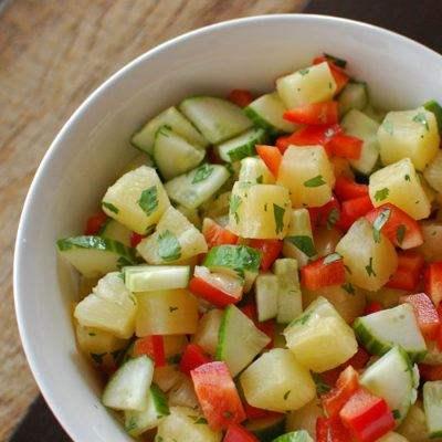 Pineapple Cucumber Bell Pepper Salad